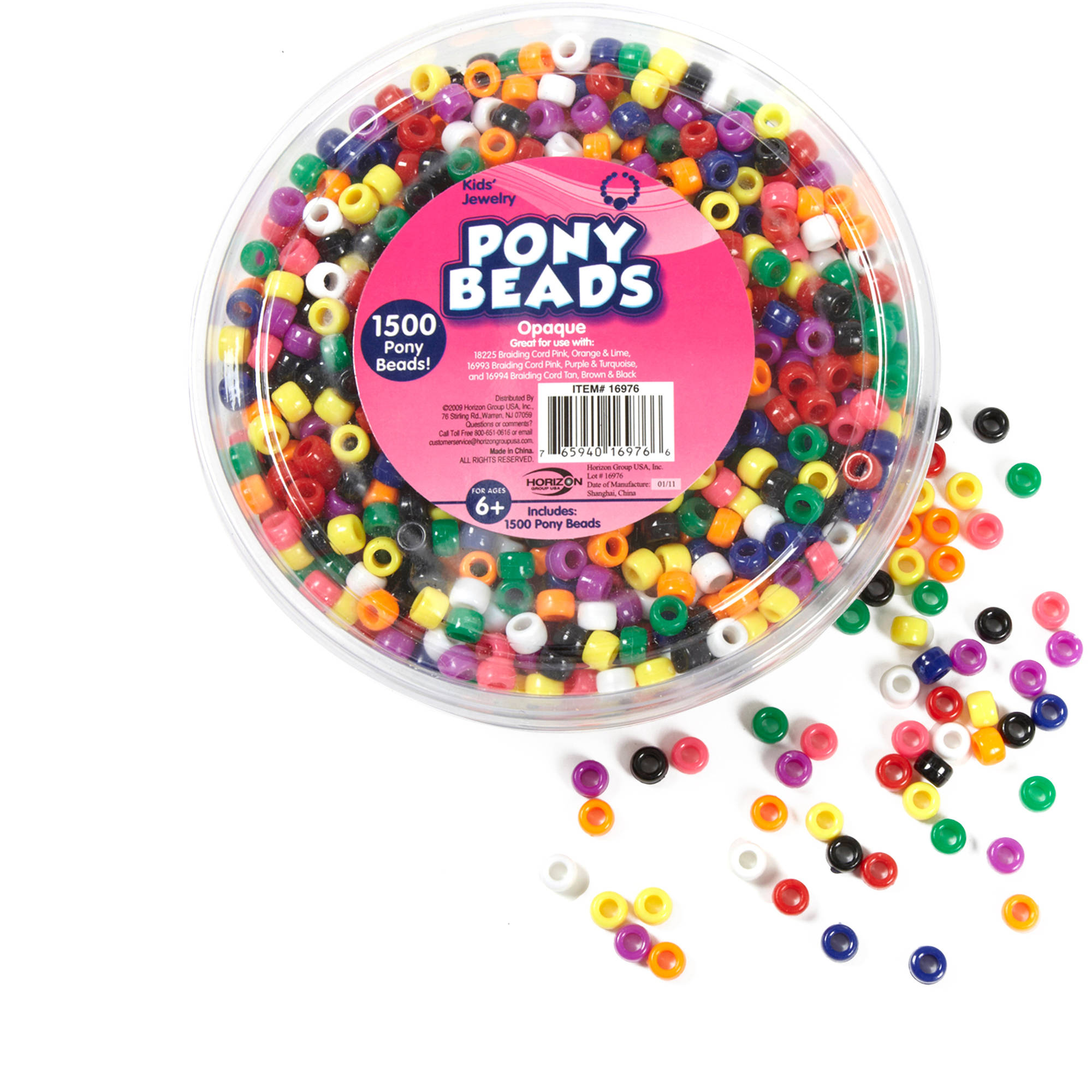 Kids Craft Plastic Pony Beads Multi Color Mix By Horizon Group Usa