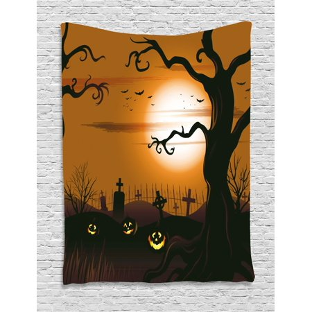 Halloween Tapestry, Leafless Creepy Tree with Twiggy Branches at Night in Cemetery Graphic Drawing, Wall Hanging for Bedroom Living Room Dorm Decor, Brown Tan, by Ambesonne - Halloween Cemetery Drawings