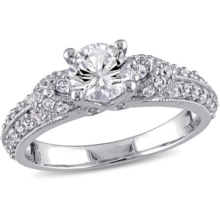miabella 1 23 carat tgw created white sapphire sterling silver engagement ring - White Sapphire Wedding Rings