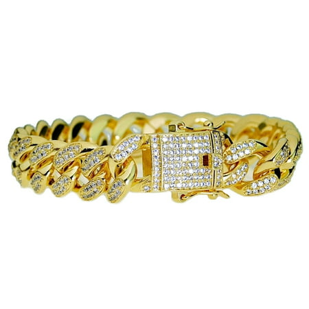 Mens 18k Gold Plated CZ Bracelet 8