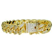 "Mens 18k Gold Plated CZ Bracelet 8"" Inch Long x 12MM Wide Hip Hop Cuban Link Bling Full Stone"