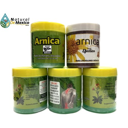 4 Arnicas + 1 Arnica OrtigaAjoRey 120 gramos Pain Reliever Arthritis Relief, Back, Neck, Knee Joint, Muscle Repair Extract 100% Natural and Organic …