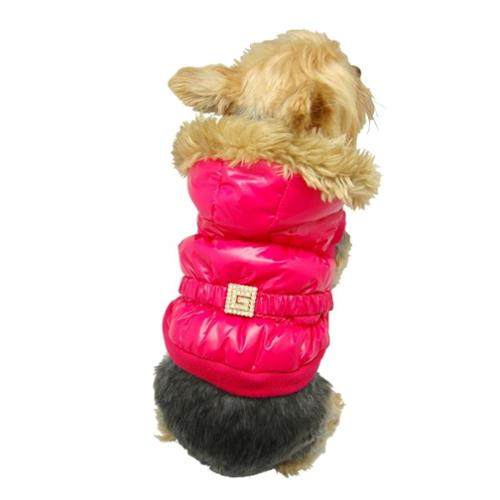 Pink Bubble Trench coat Dog Winter Clothes Jumpsuit Jacket Apparel - Medium