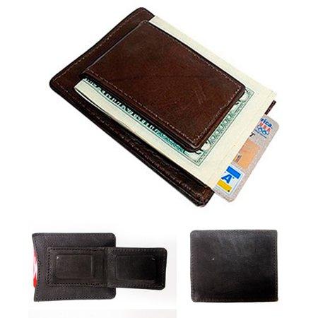1 Mens Leather Money Clip Slim Front Pocket Magnetic ID Credit Card Wallet Brown