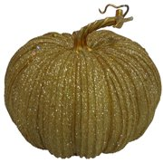 "7"" Glitter Gold Pumpkin Decoration"