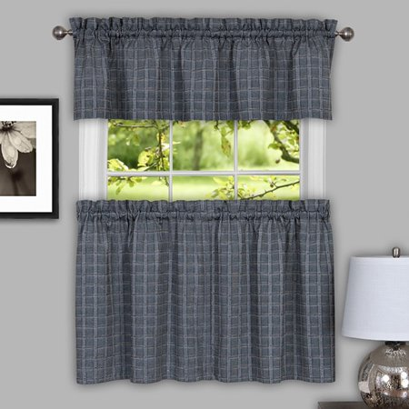 bed bath n more Classic Grey Cotton Blend Plaid Decorative Window Curtain Separates, Tier Pair and Valance Options
