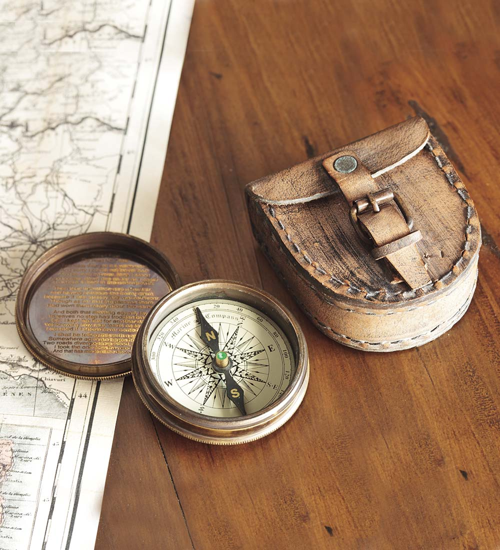 Antiqued Brass Poem Compass with Leather Case by Problem Solvers