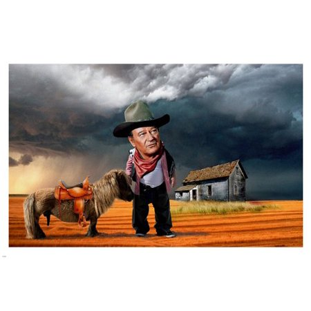 Funny Artwork Satire John Wayne Poster 24X36 Hilarious Big Head Small Horse