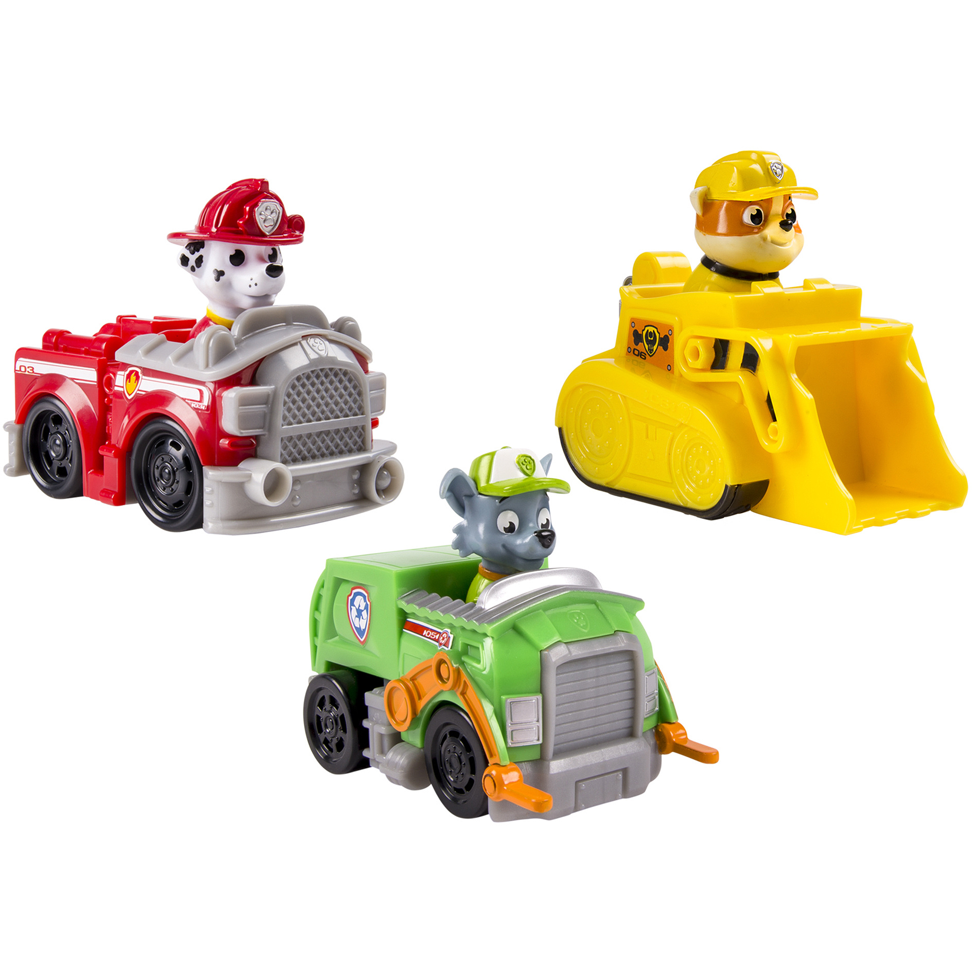 Nickelodeon Paw Patrol - Rescue Racers 3pk Vehicle Set Marshal Rubble, Rocky