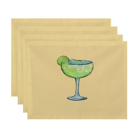 Simply Daisy, 18 x 14 Inch Margarita Plain Geometric Print Placemat (set of 4), Yellow