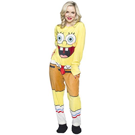 f17f4aff356a SpongeBob SquarePants - SpongeBob SquarePants Unisex Adult s Fleece Onesie  Footed Pajama (XX-Large