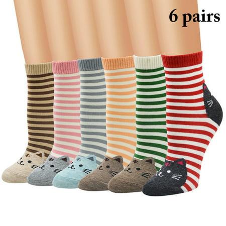 6 Pairs Women Socks,Aniwon Crew Socks Casual Cute Cartoon Cat Pattern Cotton Socks Funny Socks Mid Calf Socks for Women ()