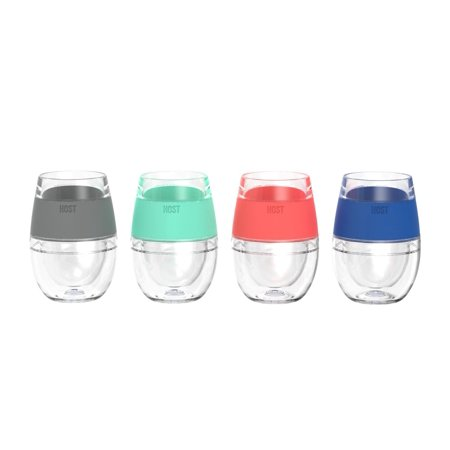Cool Beer Cups, 4pcs Wine Freeze Assorted Color Insulated Cool Pint Glasses