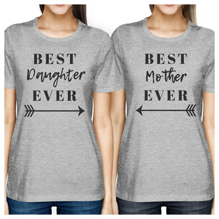 Best Daughter & Mother Ever Gray Graphic Tops For Mom And