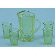 Dollhouse Pitcher W/4 Glasses, Green
