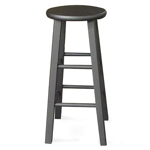 """Round Top Counter Stool 24"""", Black"""