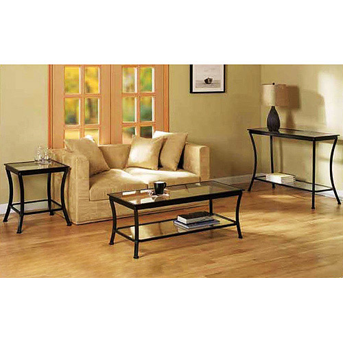 Mendocino 3 Piece Coffee, Console & End Table Value Bundle, Metal & Glass