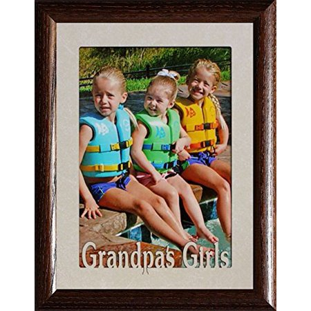 5X7 Jumbo ~ Grandpa's Girls Photo Frame ~ Holds A 5X7 Portrait Photo ~ Christmas, Birthday For Grandpa/Papa Gift (Walnut)