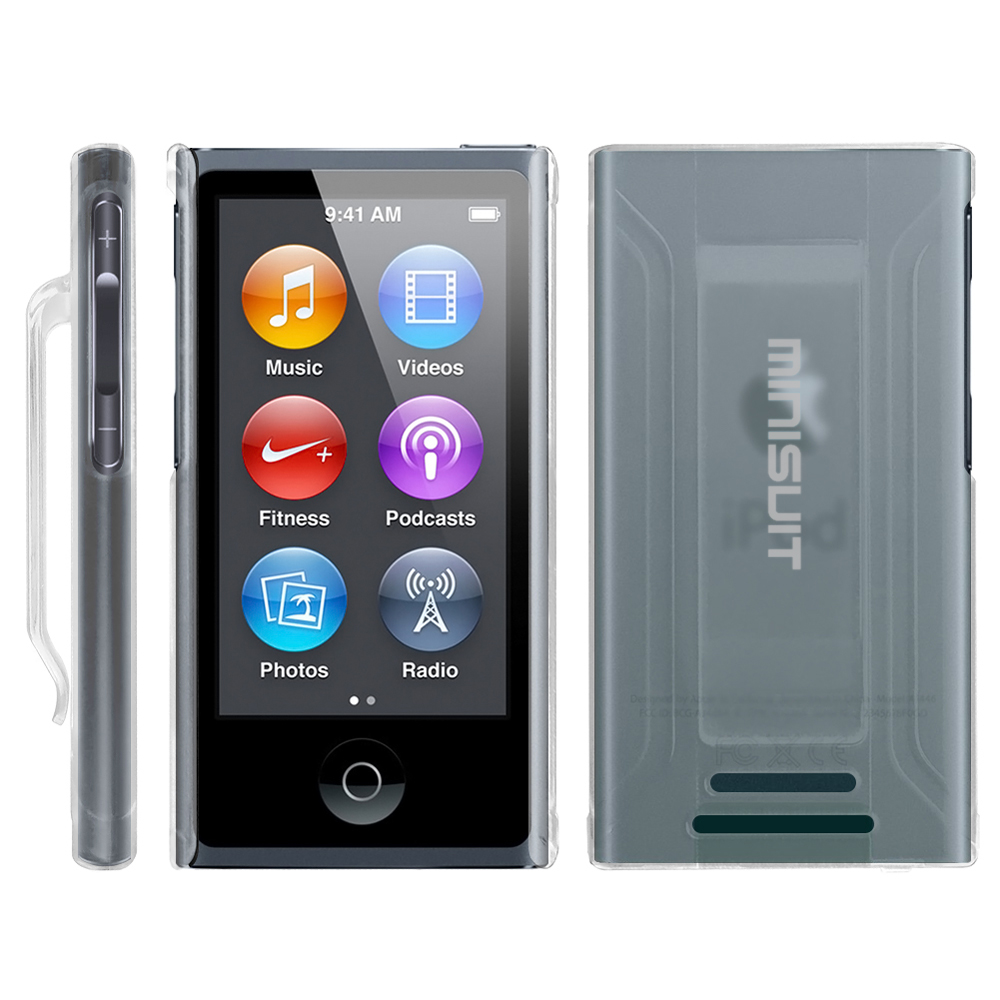 Minisuit JAZZ Slim Shell Case with Belt Clip + Screen Protector for iPod Nano 7 or 8 / 7th or 8th Gen (Clear)