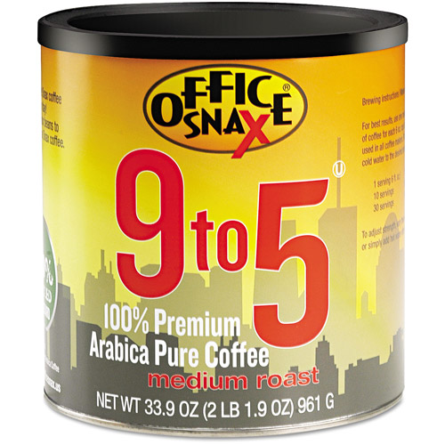 Office Snax, 9 to, 5, 100% Premium Arabica Pure Medium Roast Ground Coffee, 33.9 oz