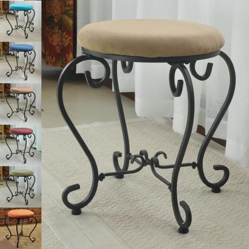International Caravan Small Iron Stool with Microsuede Cushion Saddle Brown