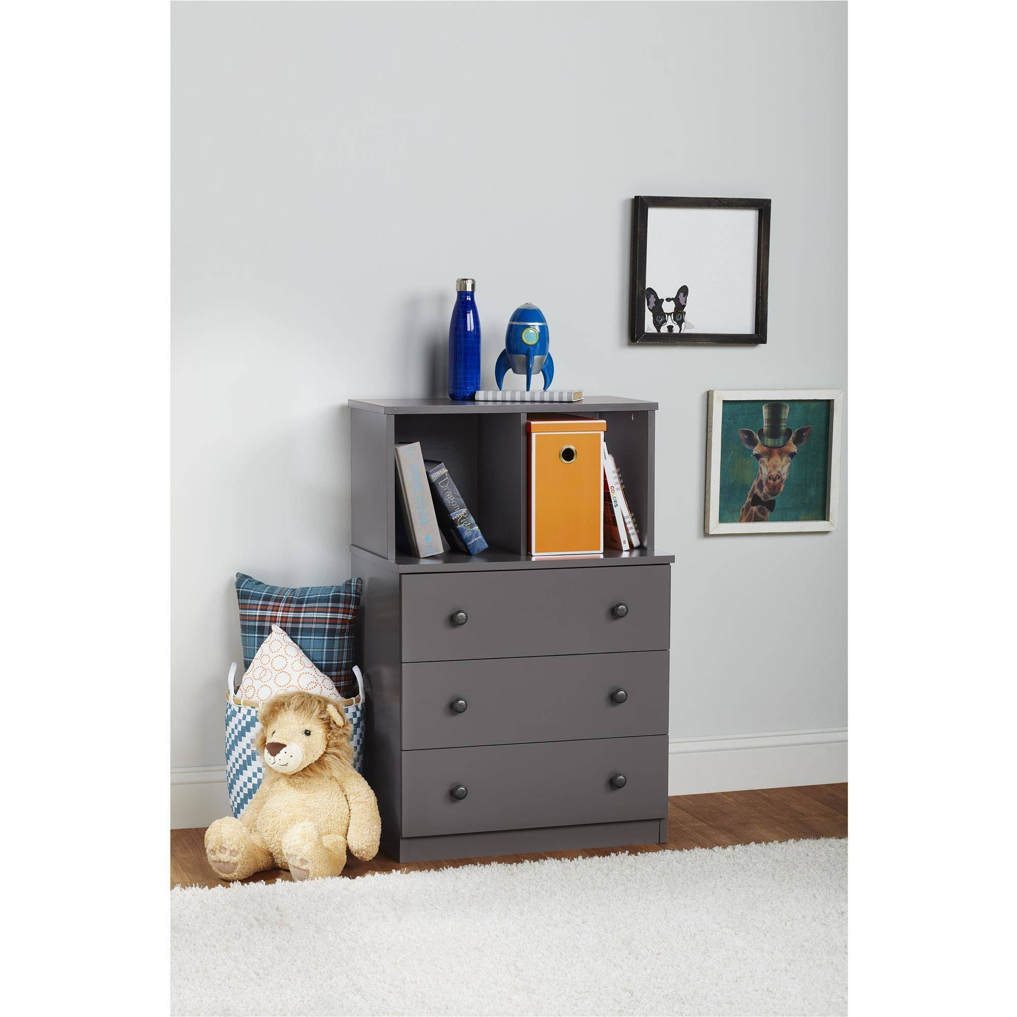 Ameriwood Home Skyler 3 Drawer Dresser with Cubbies, Multiple Colors by Ameriwood