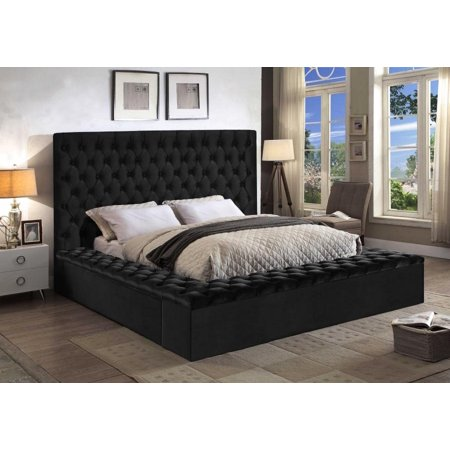 Meridian Furniture Bliss Traditional Black Velvet Queen Size Storage Bed