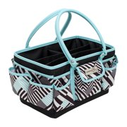 Everything Mary Teal Geometric Deluxe Store & Tote - Storage Craft Bag Organizer for Crafts, Sewing, Paper, Art, Desk, Canvas, Supplies Storage Organization with Handles for Travel