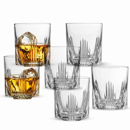 ShopoKus Whiskey Glass Set, Italian Crafted Whiskey Glasses 6 piece Exquisite Cocktail Glasses For Whiskey, Bourbon, Scotch, Cocktails Alcohol, Etc. | 9.5 Oz. Drinking Glasses (6 Whiskey Glasses)