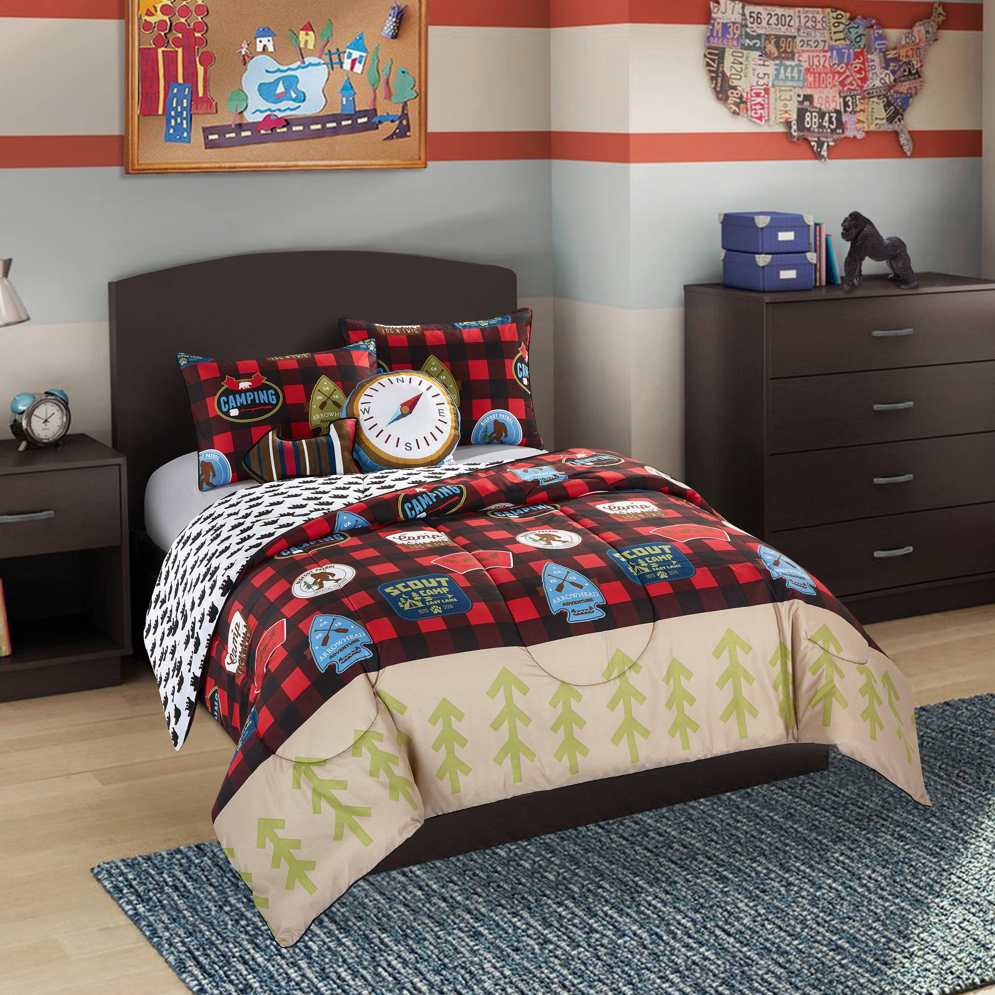 Better Homes and Gardens Kids Plaid Camp Scout Comforter Set
