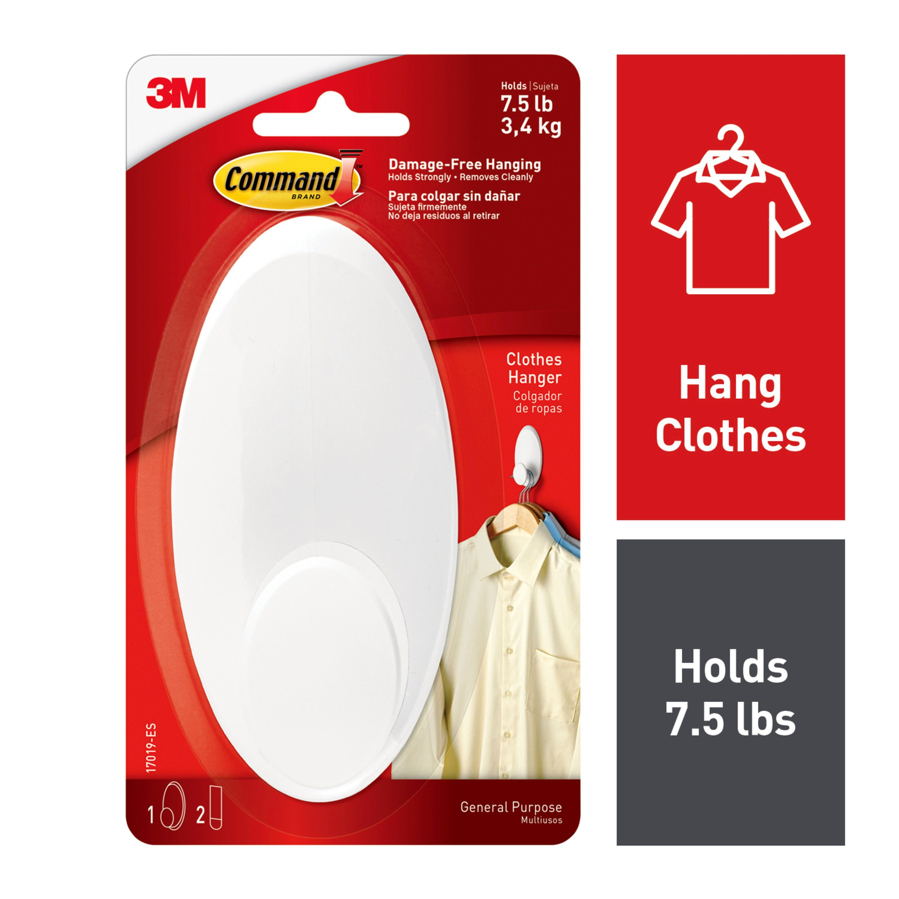 Command Clothes Hanger, White, Large, 1 Hanger, 2 Strips/Pack