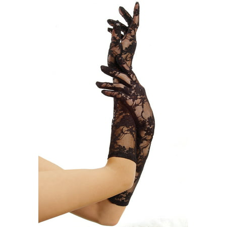 Lame Elbow - Leg Avenue Women's Stretch Elbow Length Lace Gloves, One Size, Black