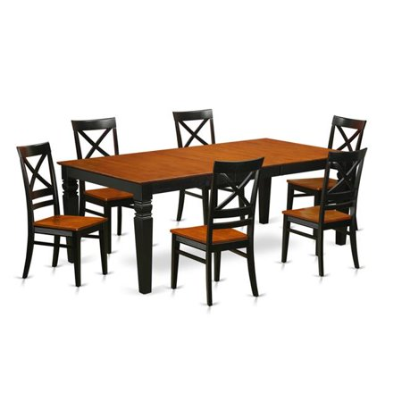 East West Furniture LGQU7-BCH-W Kitchen Table Set with One Logan Dining  Room Table & Six Chairs, Black & Cherry - 7 Piece