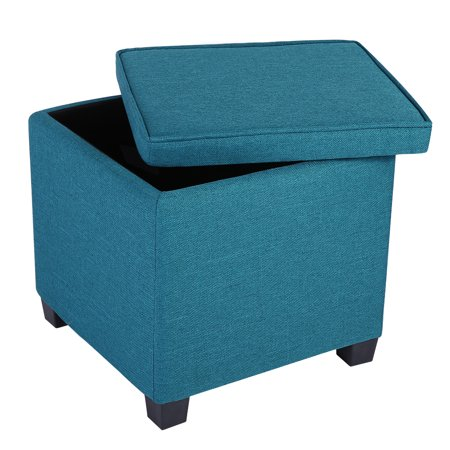 LANGRIA Square Linen Upholstered Storage Ottoman Foot Rest Stool Seat with  Legs, Peacock Blue - LANGRIA Square Linen Upholstered Storage Ottoman Foot Rest Stool