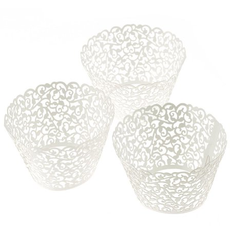 Lace Cupcake Liners (100 Filigree Little Vine Lace Laser Cut Cupcake Wrapper Liner Baking)
