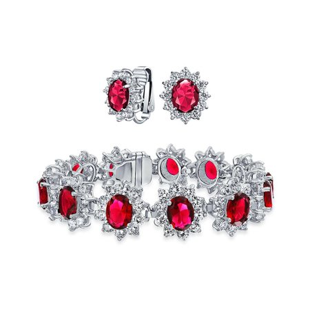Vintage Style Oval Crown Halo Red Aaa Cz Statement Bracelet Clip On Earring Jewelry Set For Women Silver Plated Br