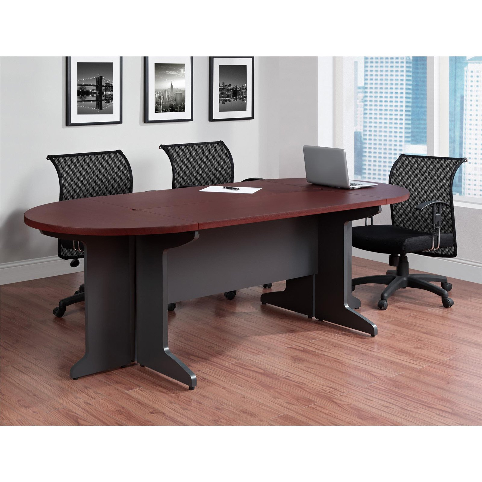 Ameriwood Home Pursuit Small Conference Table Bundle, Cherry