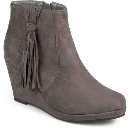 Womens Faux Suede Tassle Round Toe Wedge Boots