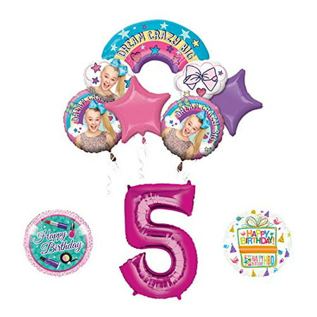 Mayflower Products JoJo Siwa 5th Birthday Balloon Bouquet Decorations and Party Supplies - Balloons And Parties