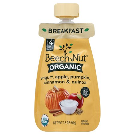 Beech-Nut® Organics Baby Food Pouch, Stage 4, Yogurt, Apple, Pumpkin, Cinnamon & Quinoa, 3.5 oz
