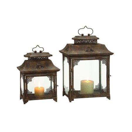 Decmode Metal and Glass Lantern, Set of 2, Brown Bronze Amber Glass Lantern