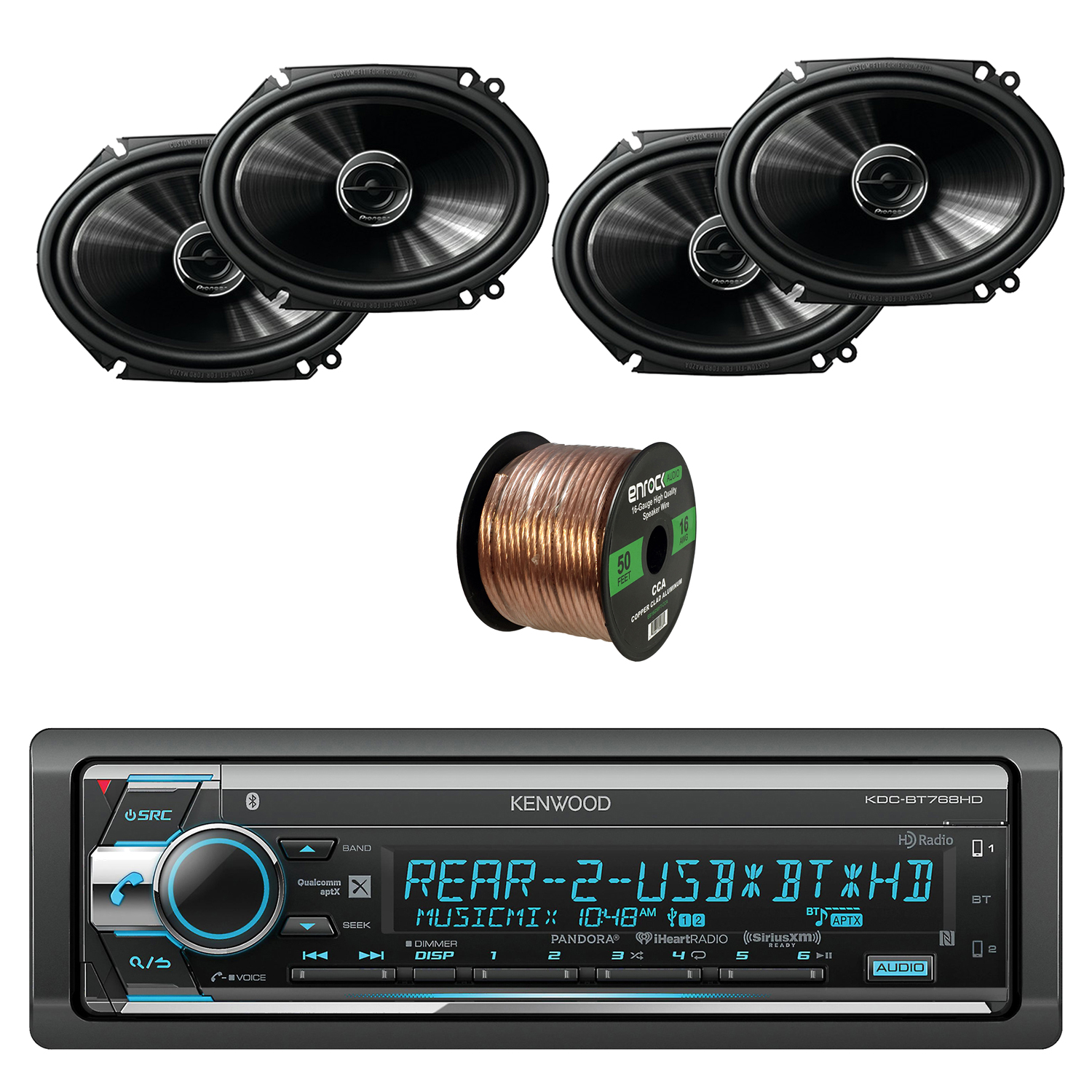 Kenwood 1-Din CD/AM/FM Car Audio Receiver with Bluetooth W/Pioneer 250W 6.8 Inch 2-Way Coaxial Car Audio Speakers 2-pairs & Enrock Audio 16-Gauge 50 Feet Speaker Wire Cable CCA Copper Clad Aluminum.