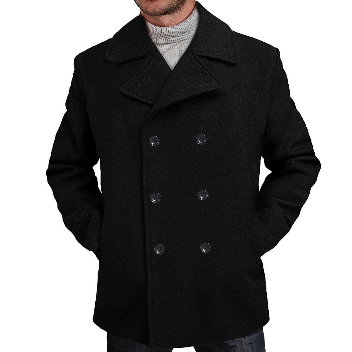 Men's 'Mark' Classic Wool Blend Pea Coat Regular Big & Tall by BGSD