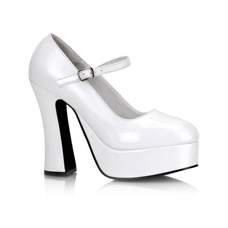 Platform Mary Jane Pumps (5 Inch Cute High Heel Mary Jane Chunky Heel Platform Pump White)