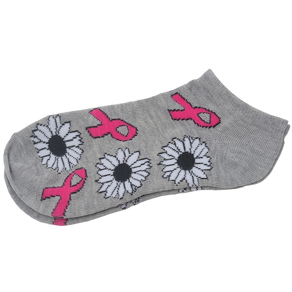 Breast Cancer Awareness Womens Grey Pink Ribbon Floral Print Low Cut Socks 9-11