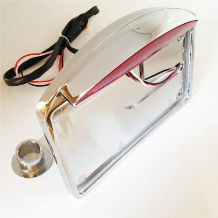 HTT Motorcycle Chrome Side Mounted Flat License Plate Bracket w/ Led Tail Light Brake Light 1
