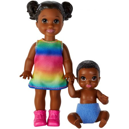 Barbie Skipper Babysitters Inc. Dolls, 2-Pack of Siblings, Small Toddler Girl Doll and Baby Boy Doll - Little Girl Baby Doll Halloween Makeup