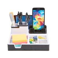 Mind Reader Desk Supplies Organizer with USB Port Charging Station, Black