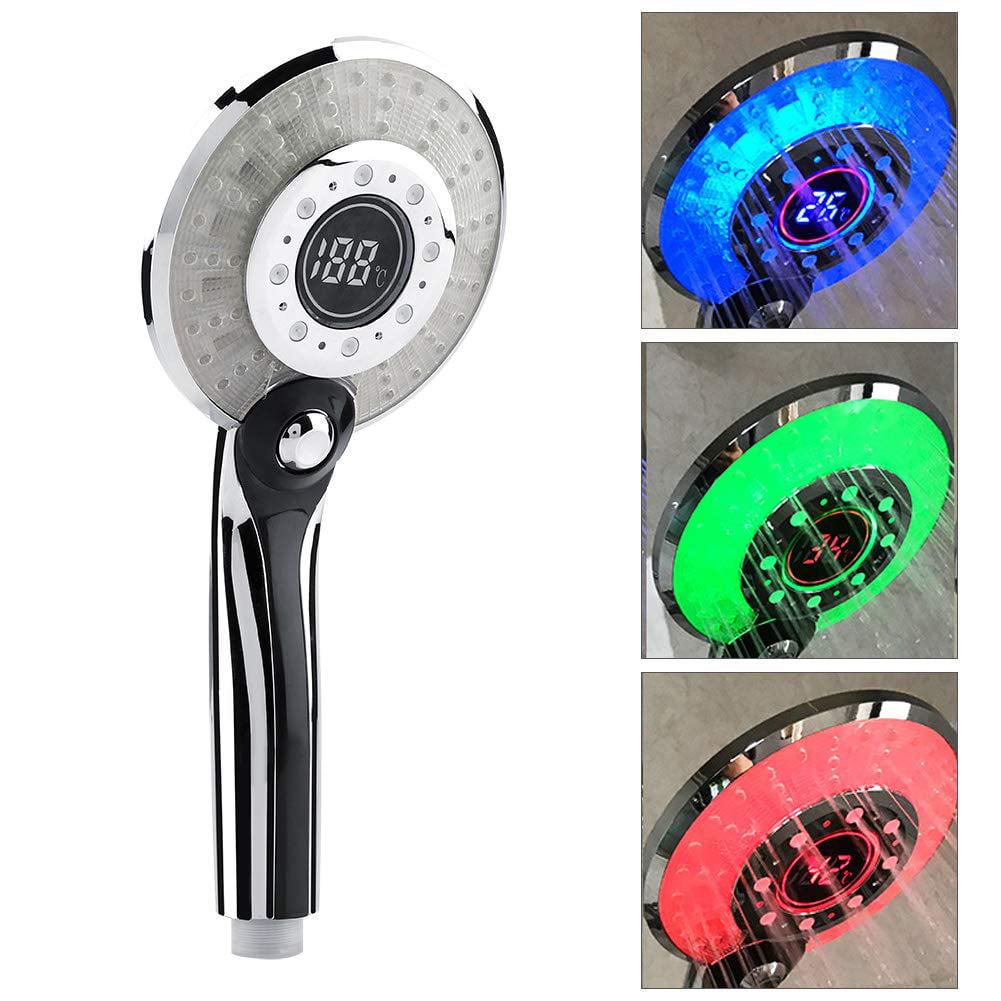 LED Handheld Shower Head Temperature Digital Display Shower Sprinkler 3 Colors