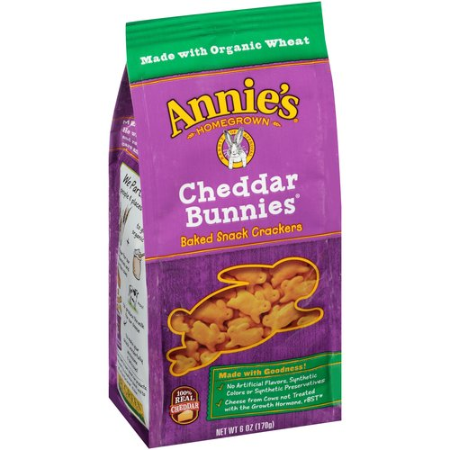 Annie's Homegrown Cheddar Bunnies Baked Snack Crackers, 6 oz